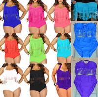 2015 NEWEST Plus Size Bikinis Set Women Ladies Sexy Retro Padded Push Up Tassel High Waist Bikini Swimwear Swimsuit Bathing Suit