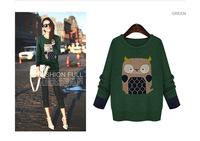 2015 new fertilizer plus size women fat mm loose sweater winter cute owl knit top 2218 XL-5XL