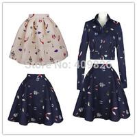 2015 Spring High End Original Design 50s Vintage Retro Floral Print High Waist Mini Flare Skirt Tutu Puff Saia Short Feminina