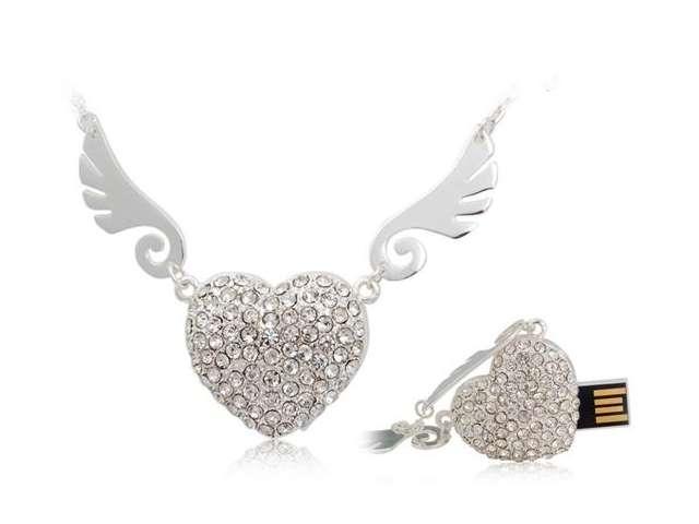 Angel Heart Hot Sale Fashion Jewelry Usb Flash Drive Gift Gifts 16gb 32gb Menory U Disk Pen Drive Pendrive 64GB Memory Stick Key(China (Mainland))