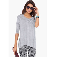 Dilameng fashion all-match grey sexy lady long sleeve Crew Neck Shirt hem slashed T-shirt 25331
