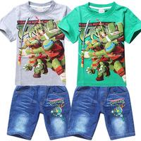 New Arrival teenage mutant ninja turtles Children's Clothing Boy T shirt and Denim Shorts Roupas Meninos Baby Boys Clothing Set