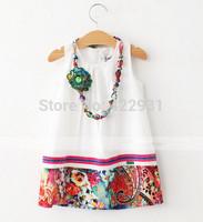 6pcs/lot 2015 Brand New Summer Girl Dress Flowers cotton necklace Children's Princess Dress Casual Vestidos girlsParty Dresses