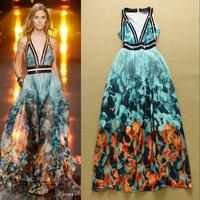 High Quality New European Fashion 2015 Summer Casual Long Dress Women Sexy Deep V-Neck Dye Print Floor Length Maxi Beach Dress