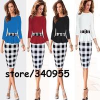 Women Dresses Hot Sale New Fashion Elegant O-neck Temperament Charm Party Bodycon Print Dresses With Belt Size S M L XL XXL