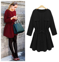 new fashion spring autumn cotton black red long sleeve plus size vestidos femininas women casual dress party dresses 2015