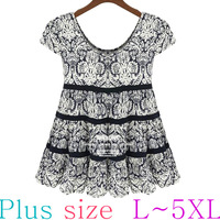 XL-5XL PLUS SIZE High Quality American Style Cute Flower Pattern Voile Blouse/Cardigan/Tops