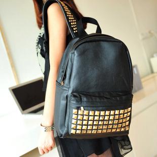 2015 новинка панк дизайн женщин свободного покроя заклепки рюкзак девочка подросток школьные сумки на ремне , Pu кожаные дорожные сумки