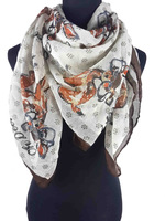 Oh Deer Print Women's Square Scarf Shawl Wrap Women's Accessories Gift for Her, Free Shipping
