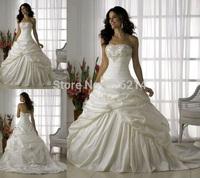 2015 Romantic Vestidos De Noiva Stock Taffeta Wedding Dress Bride Dresses Formal Gown Ball Gown Lace-up Back