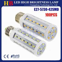 Wholesale 100pcs E27 E14 B22 LED Corn bulb 5730SMD 42 LED 12W LED Spotlight White/Warm white Light AC110V/220V Free DHL Delivery