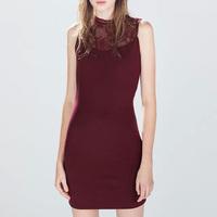 Sexy Slim Lace Spliced Dress Black Red Pencil Dress Party Wear Sleeveless Zipper Bodycon Club Dress CD7863