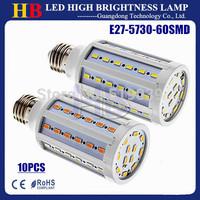 10x Free shipping E27 E14 B22 Socket SMD 5730 60Led 15W AC 110V/220V LED Corn bulbs White/Warm white CE&ROHS 2 year warranty