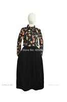 2015 Spring Woman Punk Gothic Vintage Style Mermaid Skull Rose Floral Print Shirt Long Sleeve Camisa Turn-down Collar Black