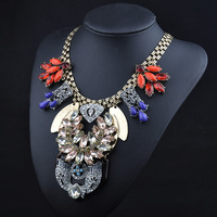 Popular 2015 Europe Style Handmade Zinc Alloy Crystal Stones Women's Necklace High Quality Sweater Chains Free Shipping Z613