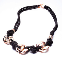 New Fashion Design Beads Enamel Bib Leather Braided Rope Chain Necklace Women Fashion Jewelry