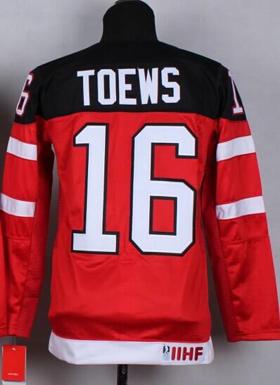 Canada Kids Hockey Team 16 Jonathan Toews Ice Hockey Jerseys Red White Canada 100th Anniversary Ice Hockey Youth/Boys Jersey(China (Mainland))