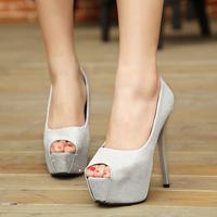 HOT Sales 2015 new women pumps European fashion high-heeled sandals fish head sequins wild  women shoes free shipping