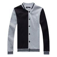 In 2015, man leisure fashion dark grey color matching fashion long-sleeved shirt