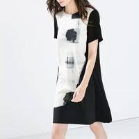 2015 Women Summer Leisure Dress Short Sleeve Round Neck Dress Party Dress  EB64