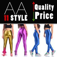 2015 Sexy Womens Disco Pants American High Waist Glossy Pants New Apparel AA Pants Solid Gym Yoga Women Crop Leggings 10 Color