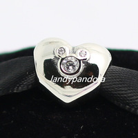 925 Sterling Silver  Heart of Mickey Bead Fits European Style Jewelry Charm Bracelets & Necklaces