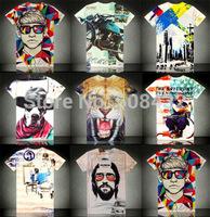 2014 Luxury Brand T-Shirt Men Fashion 3D T Shirt Mens O-Neck Short Sleeve Tee Shirts High Top Man Slim Casual Tshirt