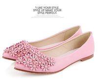 Fashion pu leather woman shoes flats with flower big size EU 33-41