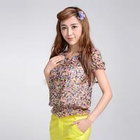 2015 spring women's chiffon shirt short-sleeve summer t-shirt basic shirt loose shirt all-match top
