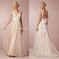Vestidos De Noivas 2015 Sexy A Line V Neck Spaghetti Straps Lace Tulle Sweep Train Beach Backless Bridal Gown Wedding Dress
