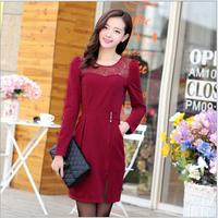 Autumn and winter fashion Korean Slim temperament round neck long-sleeved lace dress stitching