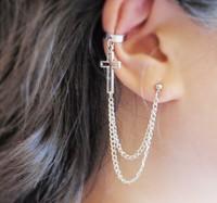 (Mini Mix Order >$10) 2015 New Arrival Women Fashion Rock Silver Plated Metal Cross Pendants Double Chain Ear Cuff CE029
