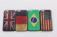 "Free shipping!!1pc 4.7"" Cheapest Painted Hard Plastic Matte Retro National Country Flag Case For Iphone6"
