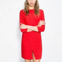2015 Spring Summer Sexy Party Dress Red Black Dress Half Sleeve Round Neck Bottom Kick Pleat Dress OL Office Dress GA8046