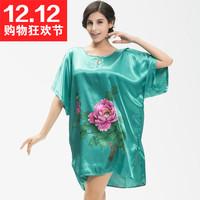 Nightgown summer peony sleepwear female short-sleeve lounge faux silk nightgown female