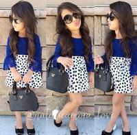 2015 New European American Girls Clothing dress Set Spring Summer Baby girl Lace Tops+High Waist Polka Dot Skirt Sets kids Wear