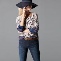 Ethnic Style Women Blouse Retro Tops Floral Printed Shirt 2015 Spring Elegant Ladies Camisa Boutique MM8003