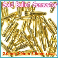 20pair/lot Gold Bullet Banana Connector plug for ESC Lipo RC battery Plugs 2.0mm 3.0mm 3.5mm 4.0mm 5.5mm 6.0mm 8.0MM