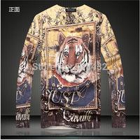 2014 Luxury Brand T-Shirt Men FashionMen's v-neck t-shirts printed t-shirts Man Slim Casual Tshirt