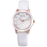 SKONE Brand Hawaiian Jewelry Fashion Women Dress Business Watches Women Rose Decorative Waterproof Leather Quartz Watch
