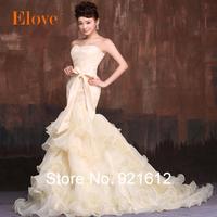 2015 Hot In Stock Fashionable Sexy Mermaid Lace Train Gown Bride Vintage Tube Top Romantic Vestido De Noiva  Wedding Dress WDF30