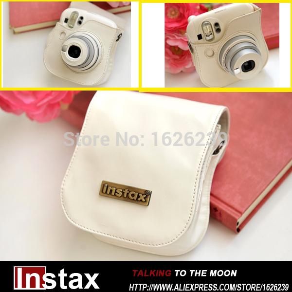 High Quality Fujifilm Instax Camera Mini 25 White Bag Camera Bag Mini 25 Leather Bag Free Shipping(China (Mainland))
