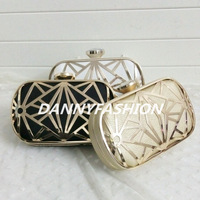 Stylish Hollow Out spider web pattern evening bag high quality plain PU diamonds clutch purse mini show case party box handbag