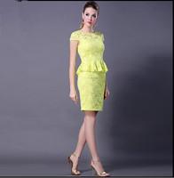 Free Shipping 2015 Spring Summer Brief fashion cutout sexy slim hip yellow ruffle short-sleeve high quality lace dress
