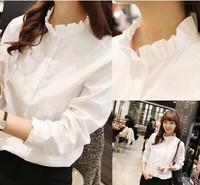 22015 Hot Sale Fashion Lace Stand Collar Chiffon White Blouse Women Long Sleeve Shirt Tops  Drop Shipping