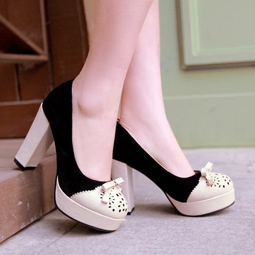 Big size 34-43,Women Platform Thin Heels 10cm pumps Fashion High Quality Sweet bowtie High Heels wedding evening shoes(China (Mainland))