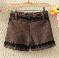 Hot Sale 2015 Women Fashion Lace Sashes Boots Shorts Lady Preppy Wool Boots Shorts 3403