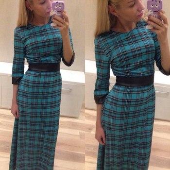 Новинка 2014 зима и осень зеленый плед платье простой и элегантный длинное платье