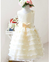 2015  bow waist belt  polyester cotton   round neck  vest  cake  ball gown  flower girl  dress for middle large  girls