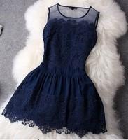 2015 New Fashion Novelty Tank Slim Women's Fashion Dresses With Lace Lace Patchwork Dress Sleeveless LQ4465